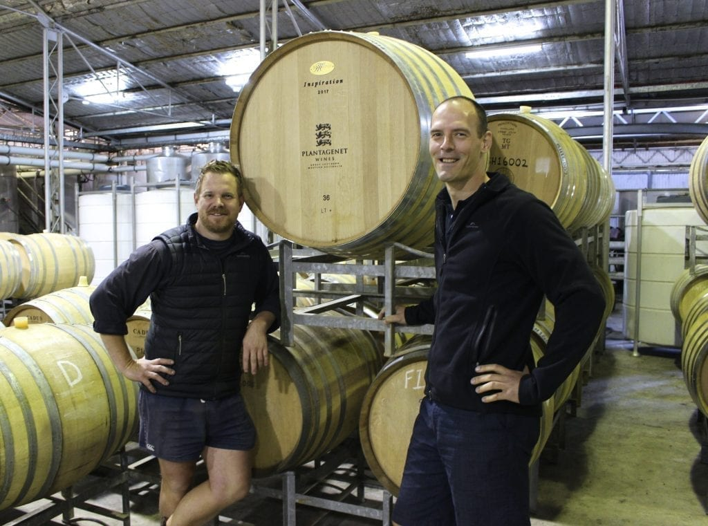 Luke Eckersley and Coby Ladwig at Plantagenet Wines in Mount Barker, WA